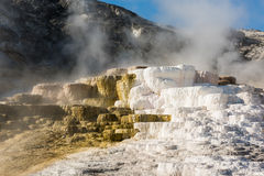 Mammoth hot springs travertine terraces in Yellowstone National Park Stock Photo