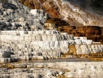 Mammoth Hot Springs, Yellowstone National Park. Bright mineral deposits from terrace area Stock Photo