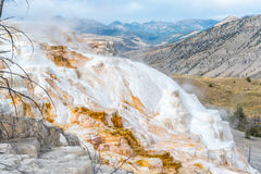 Mammoth Hot Springs in Yellowstone National Park. Wyoming, USA Stock Photos