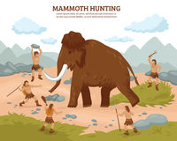 Mammoth Hunting Background. With people mammoth and weapons flat vector illustration royalty free illustration