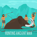 Mammoth hunting concept. Ancient prehistoric stone age concept. Mammoth hunting vector illustration stock illustration