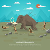 Mammoth Hunting Illustration. Color illustration showing hunting for mammoth caveman in prehistoric stone age with title vector illustration Stock Image