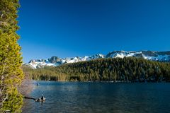 Mammoth Lakes. View at Mammoth Lakes close to Yosemite Tioga Pass Royalty Free Stock Images