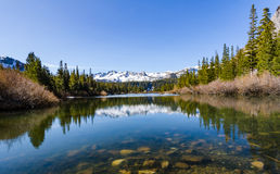 Mammoth Lakes, California. Serene scene of snow capped mountains reflected on pond in Mammoth Lakes Stock Photography
