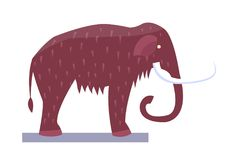 Mammoth Museum Item Object Vector Illustration. Mammoth museum item and object, exhibit of mammoth with tusks and eyes, hairy skin mammal, prehistory vector royalty free illustration