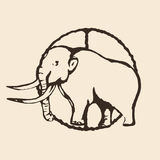 Mammoth outline, contour hand drawing, sketch,  on a beige background. Vector illustration Royalty Free Stock Photos