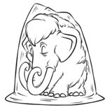 Mammoth permafrost ice Age cartoon illustration. Isolated image coloring page vector illustration