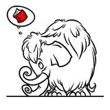 Mammoth red book cartoon illustration Stock Photo