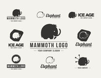 Mammoth silhouette vector logo set Royalty Free Stock Photo
