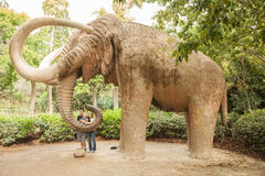 Mammoth statue in Ciutadella Park Royalty Free Stock Image