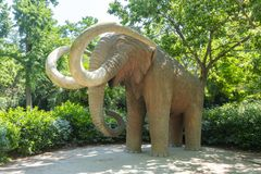Mammoth statue in Ciutadella park, Barcelona, Spain stock photos