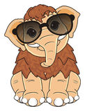 Mammoth in sunglasses. Kind mammoth in black sunglasses sit and watch Royalty Free Stock Photo