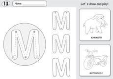 Mammouth et moto de bande dessinée Fiche de travail de découverte d'alphabet : acte judiciaire Photographie stock libre de droits