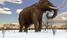 Mammouth laineux marchant dans l'animation de champ de Milou banque de vidéos