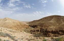 Mamshit desert canyon near the Dead sea in Israel. Panorama of Mamshit desert canyon near the Dead sea in Israel Stock Photos