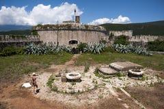 Mamula堡垒海岛,对博卡队Kotorska海湾,黑山的入口 免版税图库摄影