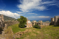 Mamure Castle. Turkey. Anamur. Mamure Castle - well-preserved the Crusader medieval castle. There is an ancient mosque with a minaret (built by Mahmud Bey in Royalty Free Stock Photos