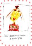 Mamusie kocham ciebie, karta dla Macierzystego s dnia, wektorowa ilustracja Obrazy Royalty Free