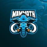 Mamutowy maskotka logo projekta wektor z nowożytnym ilustracyjnym pojęcie stylem dla odznaki, emblemata i tshirt druku, Mamut gło ilustracji
