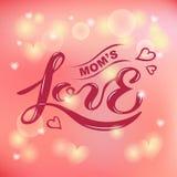 Mamy ` s miłości tekst odizolowywający na zamazanym tle Fotografia Royalty Free