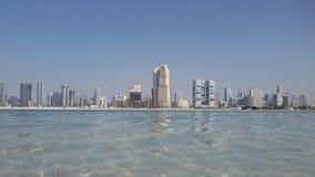 Mamzar Beach, Dubai, UAE. View of Sharjah Skyline from Mamzar Beach Dubai UAE royalty free stock photography