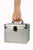 Man�s hand holding a plastic case Royalty Free Stock Images