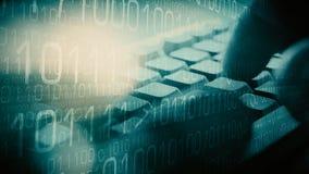 Cyber crime, hacker programming computer stock image