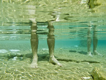 A man's legs underwater,. A man's legs in a crystal clear sea royalty free stock photo