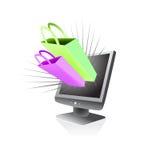 Manía en línea de las compras del almacén Imagen de archivo