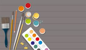 manía Pinturas, cepillos, lápices, pluma De nuevo a escuela Fondo de madera imagenes de archivo