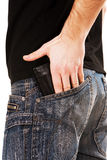 Man�s hand holding wallet Stock Photos