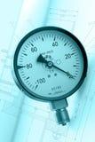 Manómetro circular industrial Fotografía de archivo