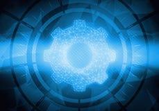 Manöverenhet för begreppspekskärmcirkel med kugghjulsymbolen Arkivbilder