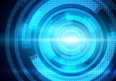 Manöverenhet för Digital begreppsmässig bildrunda på blå bakgrund Royaltyfri Bild