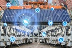 Manöverenhet för teknologi för anslutning för system för logistik för global affär Royaltyfria Bilder