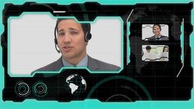 Manöverenhet som visar olika call centerlägen stock video