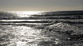 Manövning som surfar på solnedgången arkivfilmer