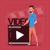 Man över Vlog för Blogger för Vlogger kanalskärm den moderna videopd skaparen stock illustrationer