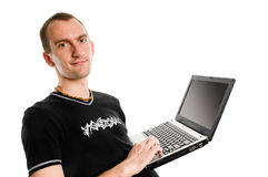 Man. Happy man with laptop isolated on white royalty free stock images