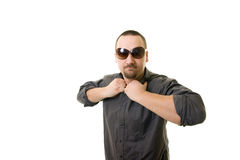 Man. With glasses on white background Royalty Free Stock Photography