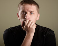 Man. Confused man. he has problem Royalty Free Stock Photo