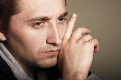 Man. Depressed man. maybe he has problem Royalty Free Stock Image