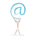 @man. An illustrated man holding an huge @ symbol Vector Illustration