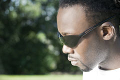 Man. Portrait of black man with sunglasses stock photos