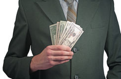 Man. With money. over white royalty free stock photos
