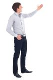 Man. Happy business man giving presentation on white background Royalty Free Stock Images