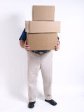 Man with 3 stacked Boxes Stock Photography