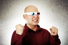 Man with 3d anaglyph glasses Royalty Free Stock Image