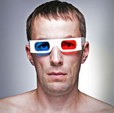 Man with 3D glasses Stock Images