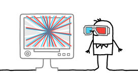 Man with 3D glasses. Man watching computer screen with 3D glasses - hand drawn cartoon characters Stock Image